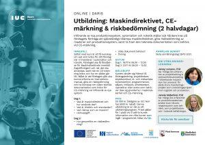 Inbjudan utbildning Maskindirektivet, CE-märkning