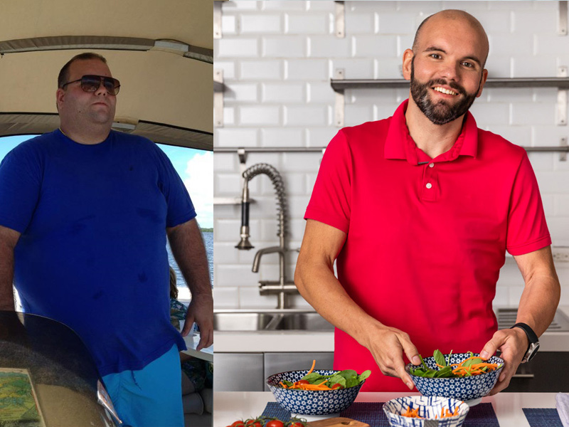 Dariel before and after his weight loss. Dariel before his bariatric surgery; he's standing within a boat. After his surgery, he is cooking in a kitchen and smilling for the camera.