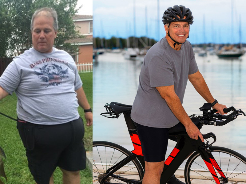 Mario before and after his weight loss. Mario before his bariatric surgery; he's standing in a backyard as he holds onto a fishing line. Mario after is on a bike by the bay.