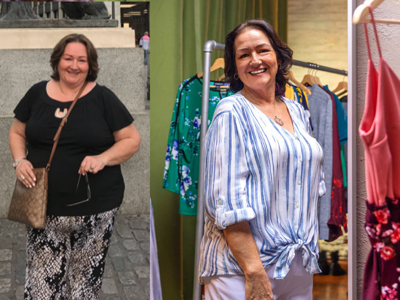 Rosa before and after his weight loss. Rosa before her bariatric surgery; she's standing and smiling for the camera as she holds onto her sunglasses with her left arm. Rosa after her surgery, she is smiling as she tries on clothes.