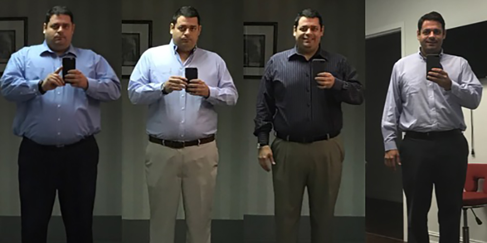 Multiple images of Robert as he loses weight over time