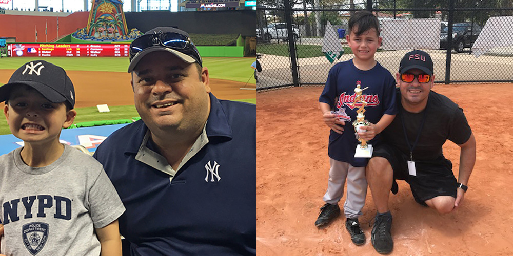 Before and after image of the weight loss Robert had, in both images, he is at a baseball field with his son