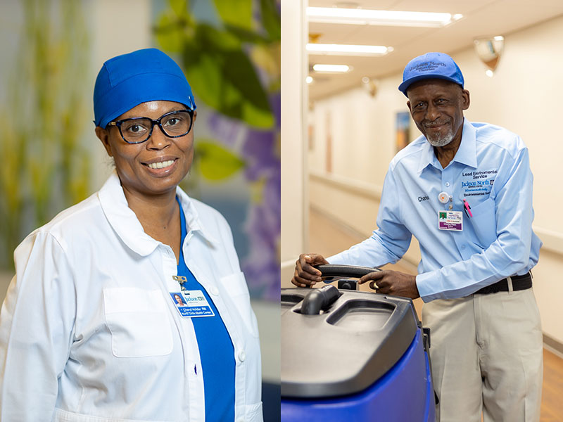 Two images. On the left is a woman smiling at the camera, she has on blue scrubs, a white medical jacket, and a blue cap. On the right is an older male smiling at the camera wearing a blue hat, a blue collar long sleeve shirt and kaki pants, he is pushing a large machine.