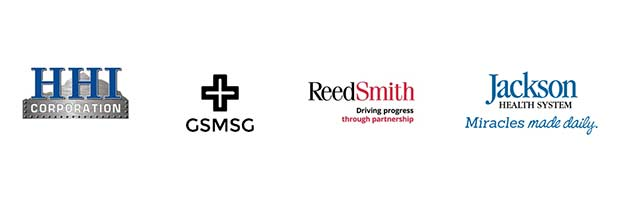 Logos of HHI Corporation, GSMSG, ReedSmith, and Jackson Health System