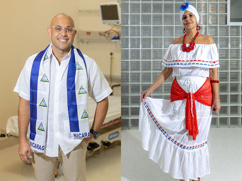 On the left, a man smiling at the camera, he wears a white shirt and a Nicaragua wrap. On the right, a women looks at the camera, she's standing and holding part of the bottom of her white off the shoulder dress