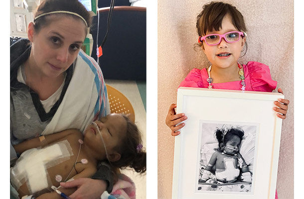 Image on the left is of a mother holding her young daughter who is sleeping and has tubes. Image on the right is of a young girl holding a picture of her younger self in the hospital