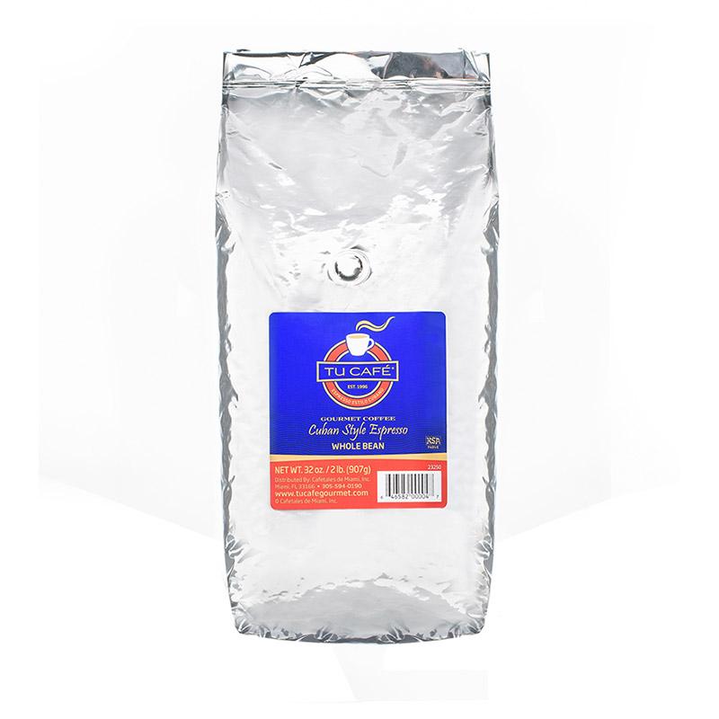 A silver tu cafe coffee bag