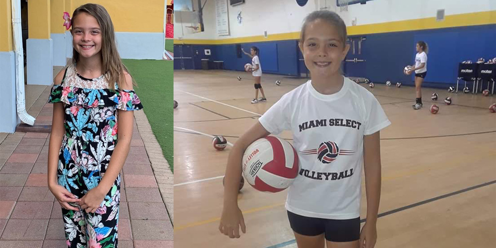 There are two images, in the image to the left, Victoria is standing and smiling, she is wearing a floral jumpsuit. Within the image to the right, Victoria is at a volleyball game, she is holding a volley ball between her right arm and hip