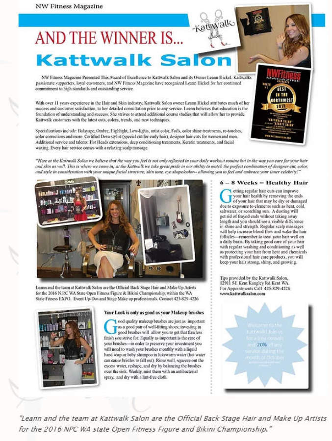 NW Fitness Presents Award of Excellence to Kattwalk Salon in Kent