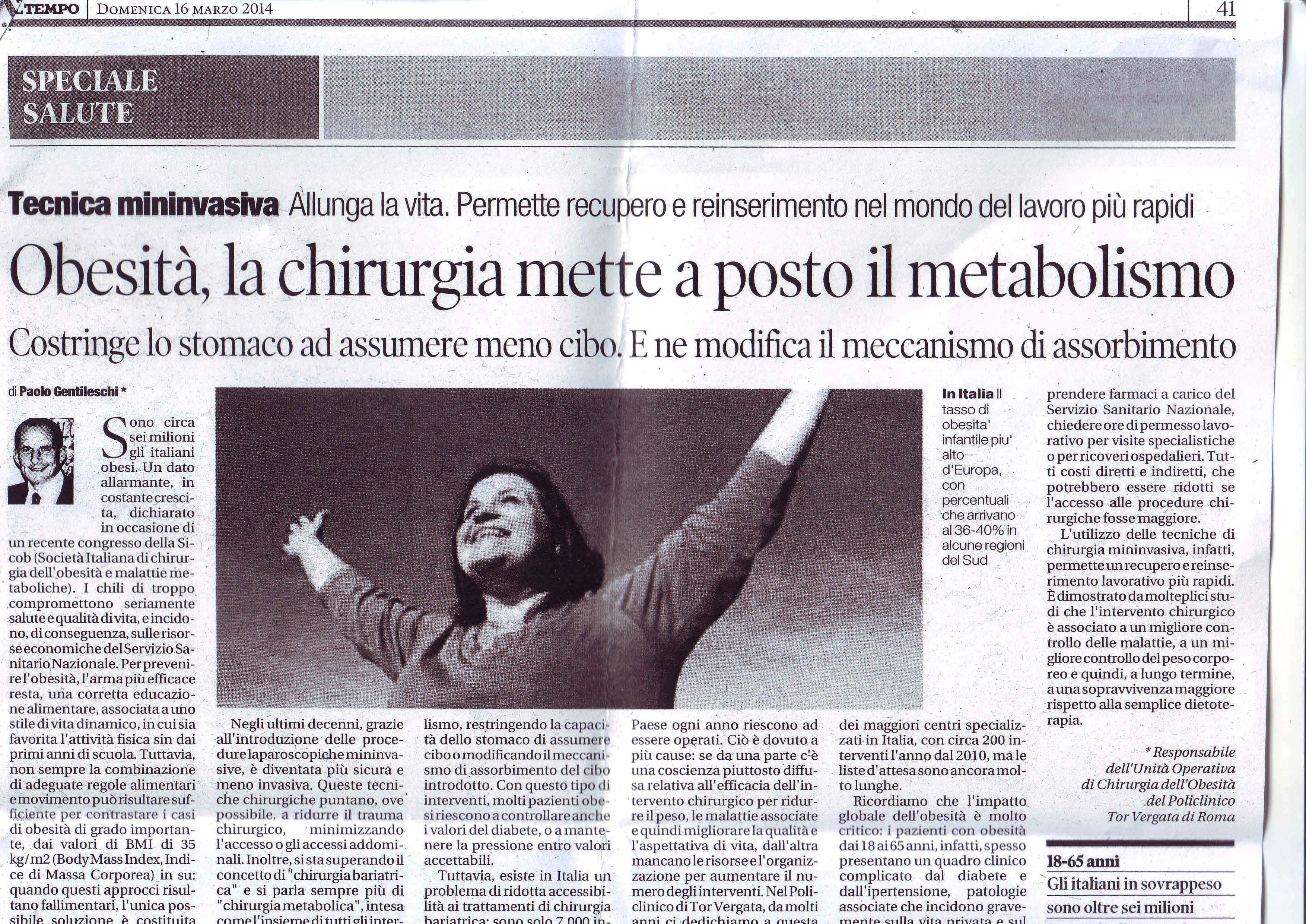 IL TEMPO articolo del Prof. Dott. Paolo Gentileschi - 16 marzo