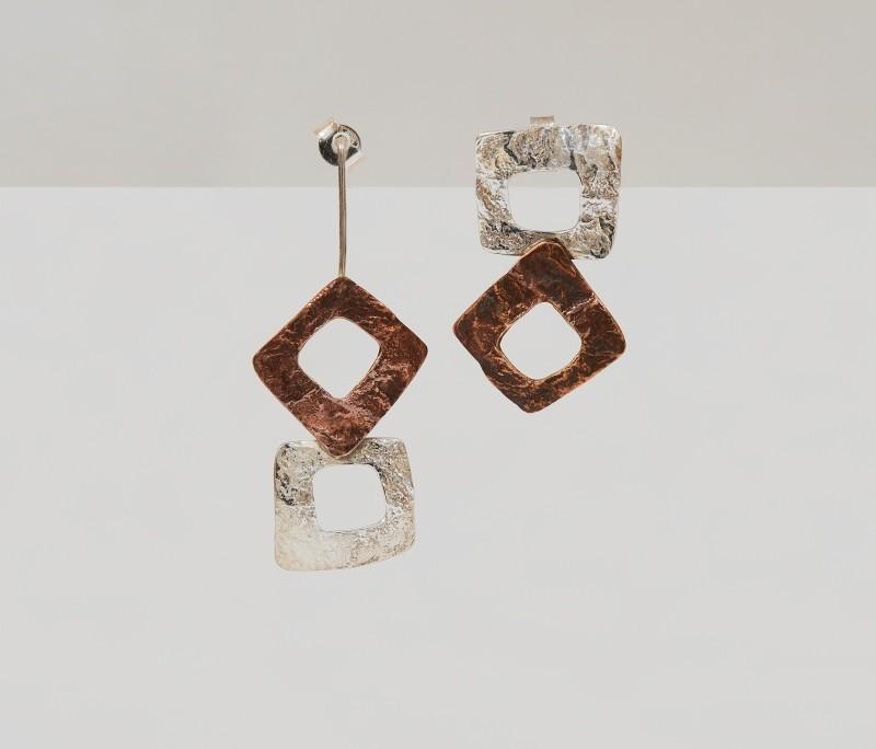 orecchini argento e bronzo