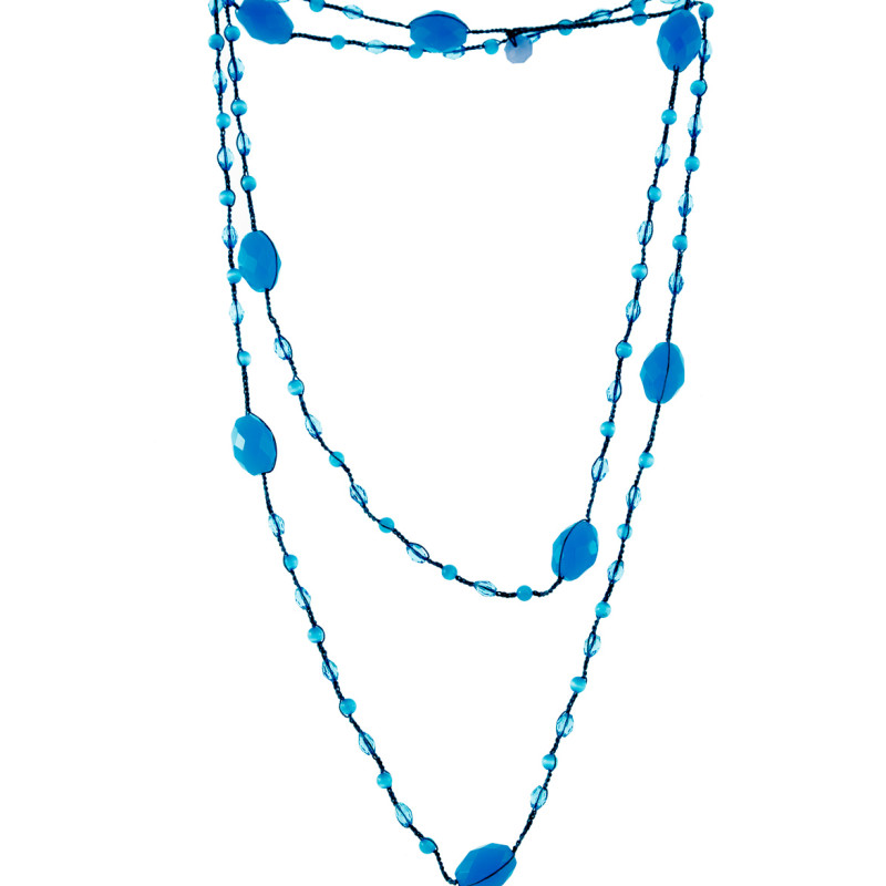 Necklace made by Italian Artisan. Small and shiny blue pearls. Elegant and essential style. 100% Made in Italy artisanal product.