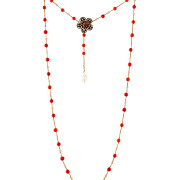 Necklace made by Italian Artisan. Small and shiny red pearls, with some details in silver. Elegant and essential style. 100% Made in Italy artisanal product.