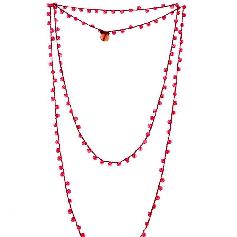 Necklace made by Italian Artisan. Small and shiny red pearls. Elegant and essential style. 100% Made in Italy artisanal product.