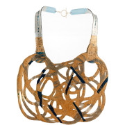 Soft and double-faced necklace in PVC. Colored, light and flexible. Original Made in Italy design, handmade. Model front colors: yellow, gold, grey and black. Back color: silver.