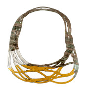Soft and double-faced necklace in PVC. Colored, light and flexible. Original Made in Italy design, handmade. Model front and back colors: yellow, gold, grey and black.