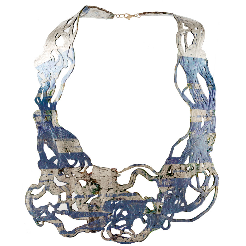 Soft and double-faced necklace in PVC. Colored, light and flexible. Original Made in Italy design, handmade. Model front colors: blue, silver and azure.