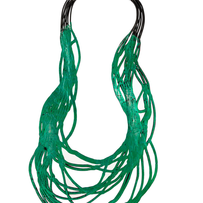Soft and double-faced necklace in PVC. Colored, light and flexible. Original Made in Italy design, handmade. Model front colors: green. Back color: silver.