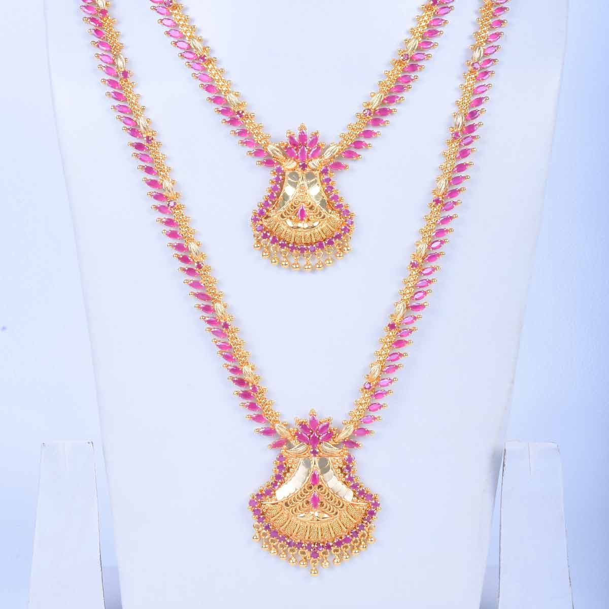 31d596c34c178e Exquisite gold-plated long haram necklace set with ruby cubic zirconia  stones for women.