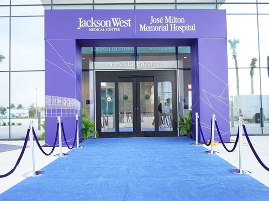 An exterior image of the front door of a building, there is a blue carpet leading to the front door