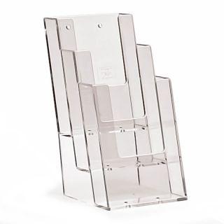 Counter Stander Taymar - suport pentru pliante cu trei buzunare, JJ DISPLAYS, 1/3 A4 99 x 210 mm