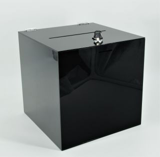 Urnă transparentă din plexiglas, cutie pentru donații, JJ DISPLAYS, 200 mm