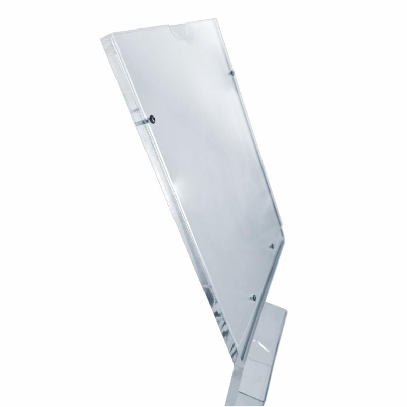Suport afisaj plexiglas de podea cu buzunar pentru pliante, JJ DISPLAYS, dimensiuni la cerere