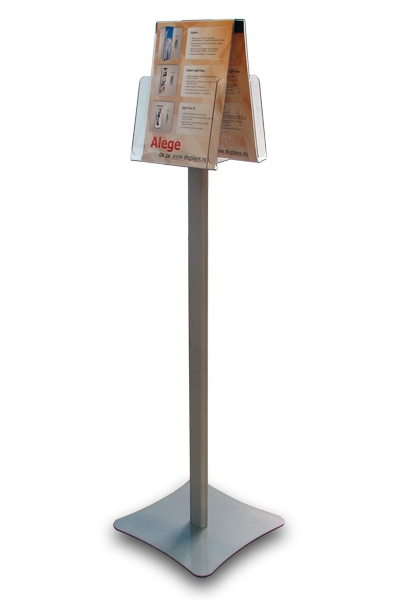 Suport brosuri, pliante, flyer 2xA4 cu picior A4, JJ DISPLAYS, 210 x 297 mm