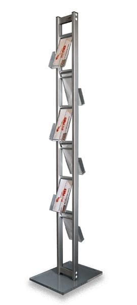 Stand din aluminiu și plexiglas pentru flyere, reviste sau cataloage, JJ DISPLAYS, dimensiuni la cerere