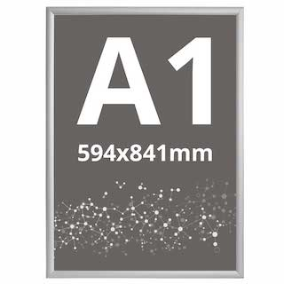 Ramă click 25, Poster Frame din aluminiu, cu colțuri drepte A1, JJ DISPLAYS, 594 x 841 mm