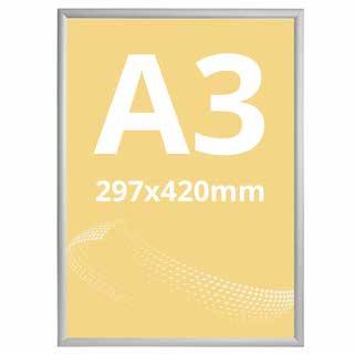 Ramă click 25, Poster Frame din aluminiu, cu colțuri drepte A3, JJ DISPLAYS, 297 x 420 mm