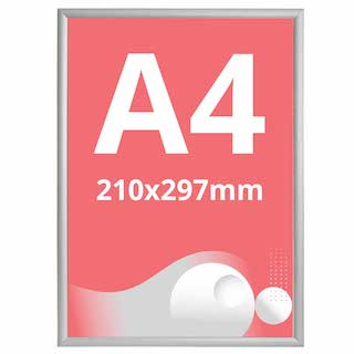 Ramă click 25, Poster Frame din aluminiu, cu colțuri drepte A4, JJ DISPLAYS, 210 x 297 mm