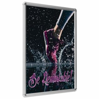 Ramă click Poster Frame din aluminiu 25, colțuri rotunde A4, JJ DISPLAYS, 210 x 297 mm