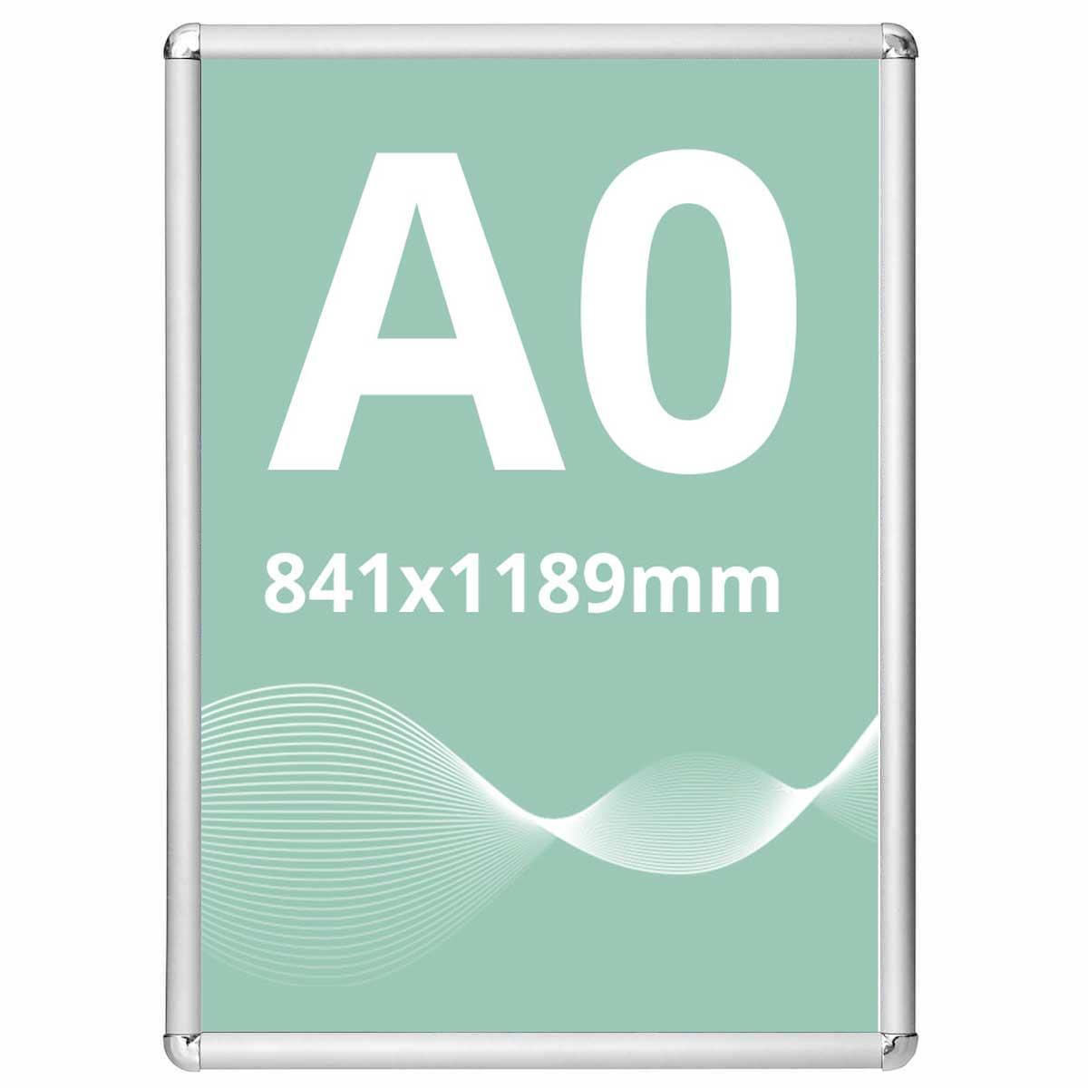 Ramă click Poster Frame din aluminiu 25, colțuri rotunde A0, JJ DISPLAYS, 841 x 1189 mm