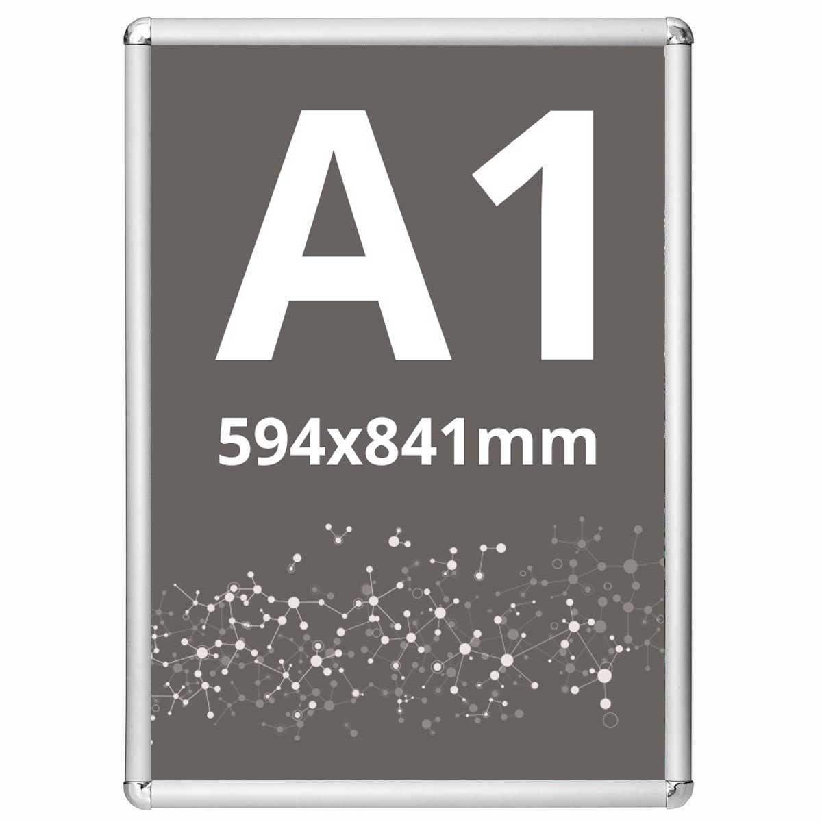 Ramă click Poster Frame din aluminiu 25, colțuri rotunde A1, JJ DISPLAYS, 594 x 841 mm