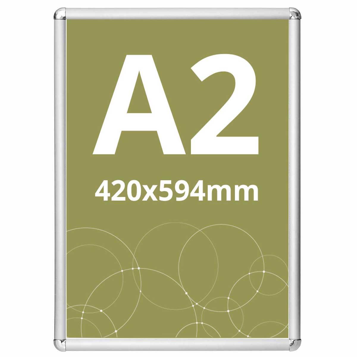 Ramă click Poster Frame din aluminiu 25, colțuri rotunde A2, JJ DISPLAYS, 420 x 594 mm
