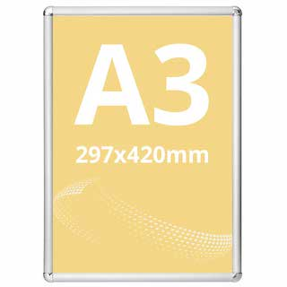 Ramă click Poster Frame din aluminiu 25, colțuri rotunde A3, JJ DISPLAYS, 297 x 420 mm
