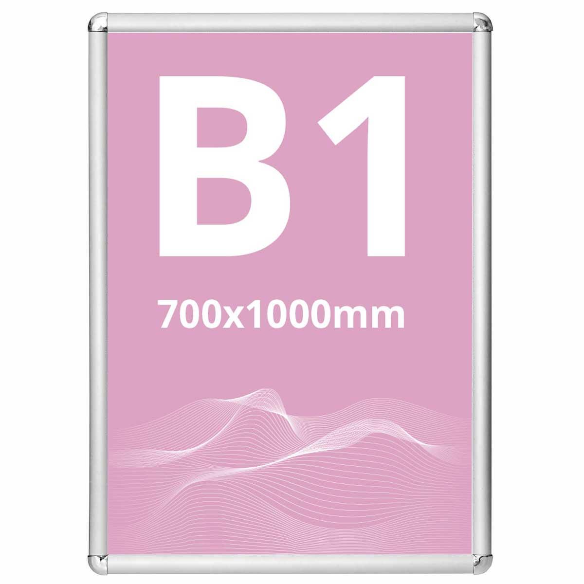 Ramă click Poster Frame din aluminiu 25, colțuri rotunde S7, JJ DISPLAYS, 700 x 1000 mm