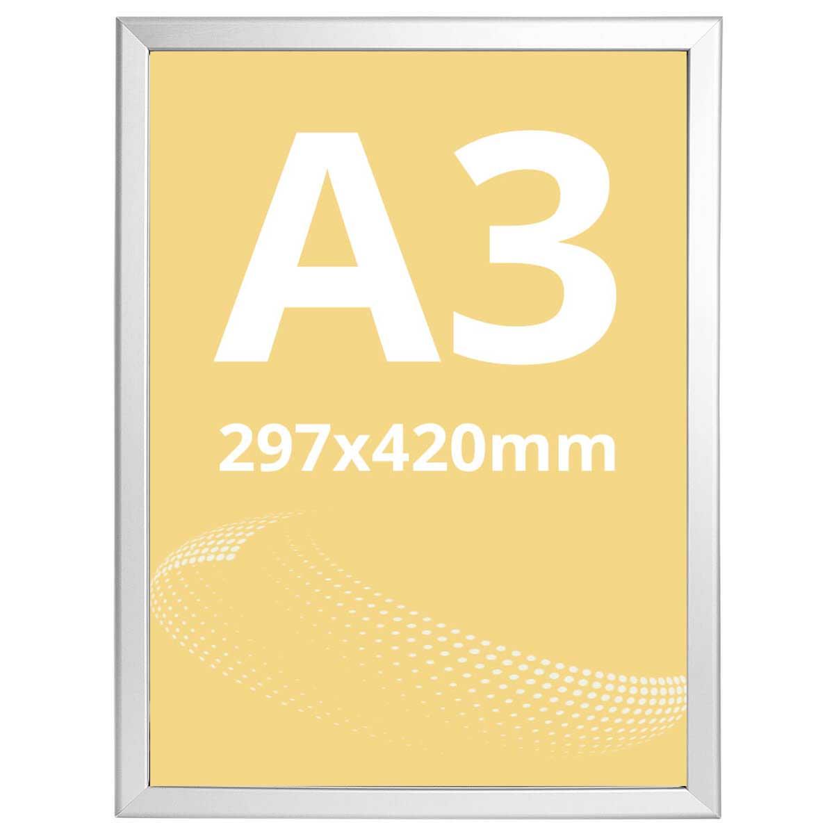 Ramă click Poster Frame din aluminiu 32, colțuri drepte A3, JJ DISPLAYS, 297 x 420 mm