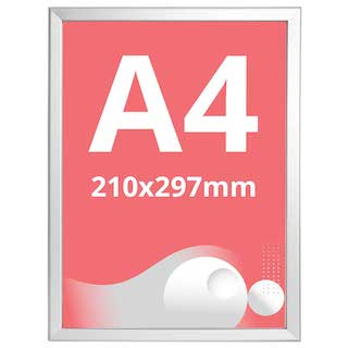 Ramă click Poster Frame din aluminiu 32, colțuri drepte A4, JJ DISPLAYS, 210 x 297 mm