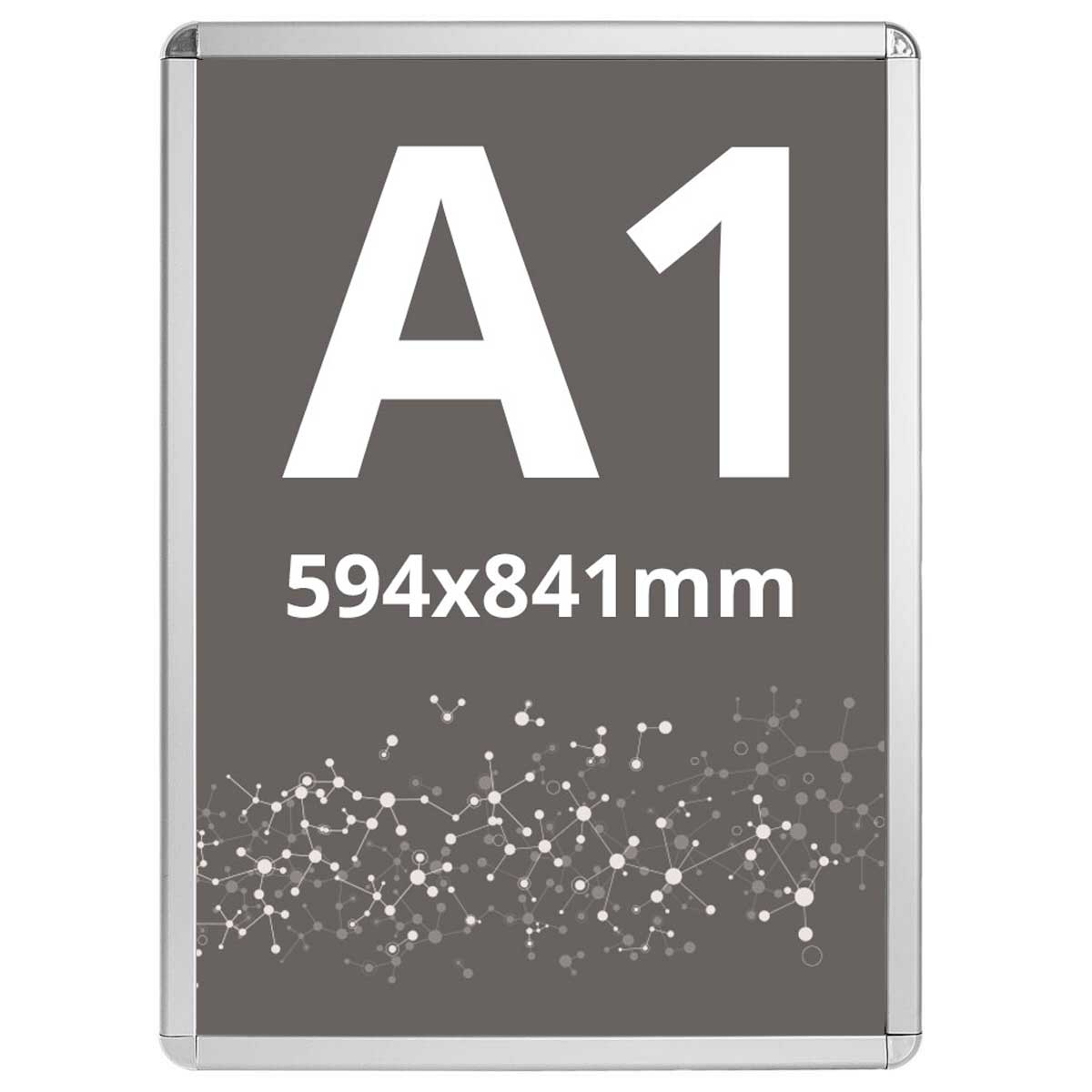 Ramă click Poster Frame din aluminiu 32, colțuri rotunde A1, JJ DISPLAYS, 594 x 841 mm