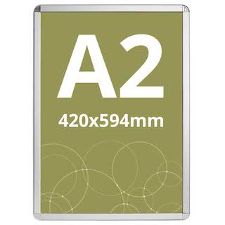 Ramă click Poster Frame din aluminiu 32, colțuri rotunde A2, JJ DISPLAYS, 420 x 594 mm