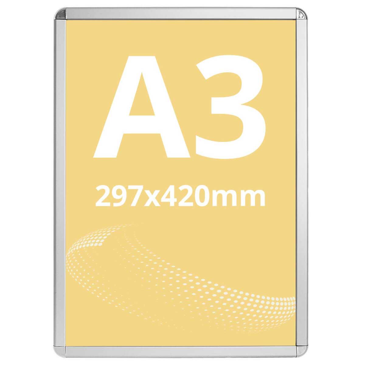 Ramă click Poster Frame din aluminiu 32, colțuri rotunde A3, JJ DISPLAYS, 297 x 420 mm
