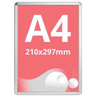Ramă click Poster Frame din aluminiu 32, colțuri rotunde A4, JJ DISPLAYS, 210 x 297 mm