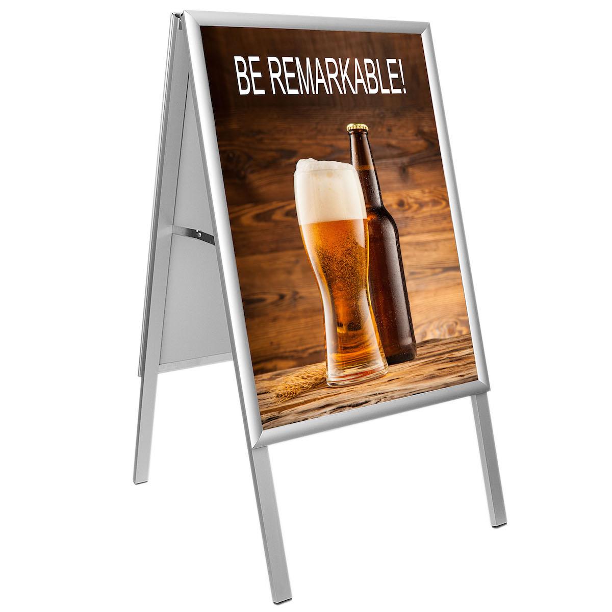 People Stopper, A board din profil aluminiu click  25mm cu colt la 45 grade S7, JJ DISPLAYS, 700 x 1000 mm