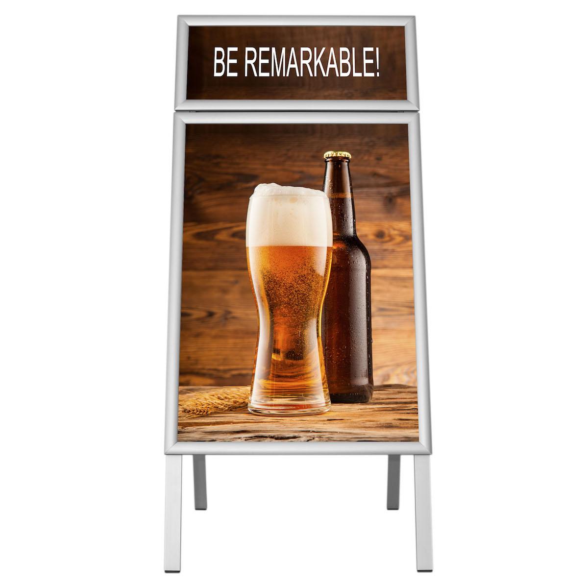 People Stopper Double Frame, A board din profil aluminiu click  25mm cu colt la 45 grade S5, JJ DISPLAYS, 500 x 700 mm
