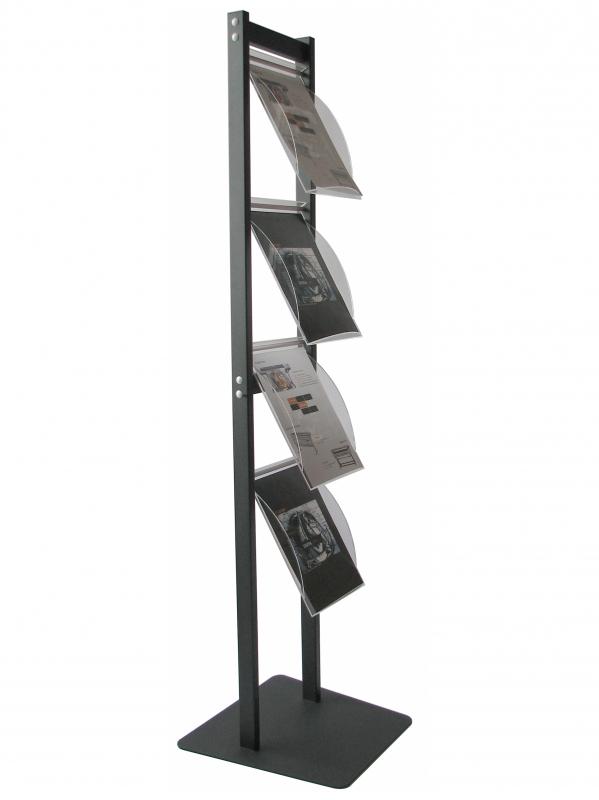 Stand cu rafturi pentru brosuri, pliante sau reviste A4, JJ DISPLAYS, 210 x 297 mm