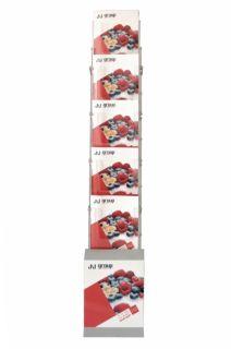 Stand pliabil pentru pliante, reviste, broșuri, 5 rafturi A4, JJ DISPLAYS