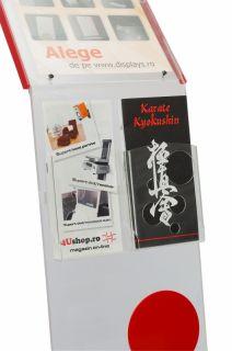 Stand de prezentare din plexiglas, insert A4, buzunare PETG 1/3 A4 A4, JJ DISPLAYS, 210 x 297 mm