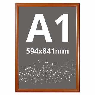 Ramă click WOOD, cu imitație de lemn A1, JJ DISPLAYS, 594 x 841 mm